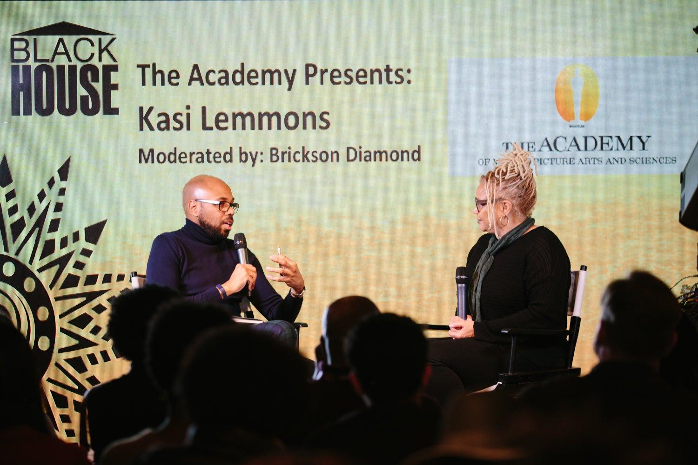 "Brickson talking with Kasi Lemmons, director of ""Harriet."""