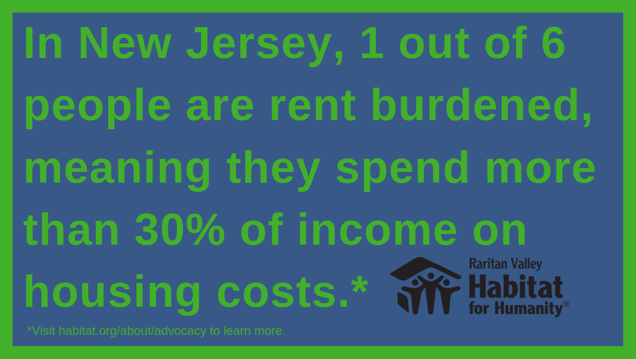 "A poster Jason designed that says ""In New Jersey, 1 out of 6 people are rent burdened, meaning they spend more than 300% of income on housing costs."