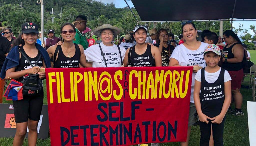 Kristin Oberiano in a parade asking for Guam's self determination