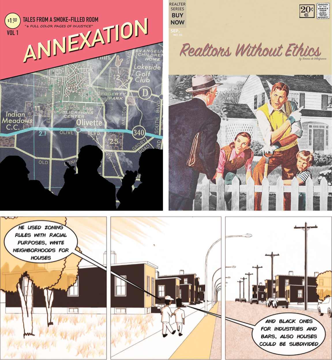 Three comics: called Annexation, Realtors without Ethics, and three panels of kids walking down a street