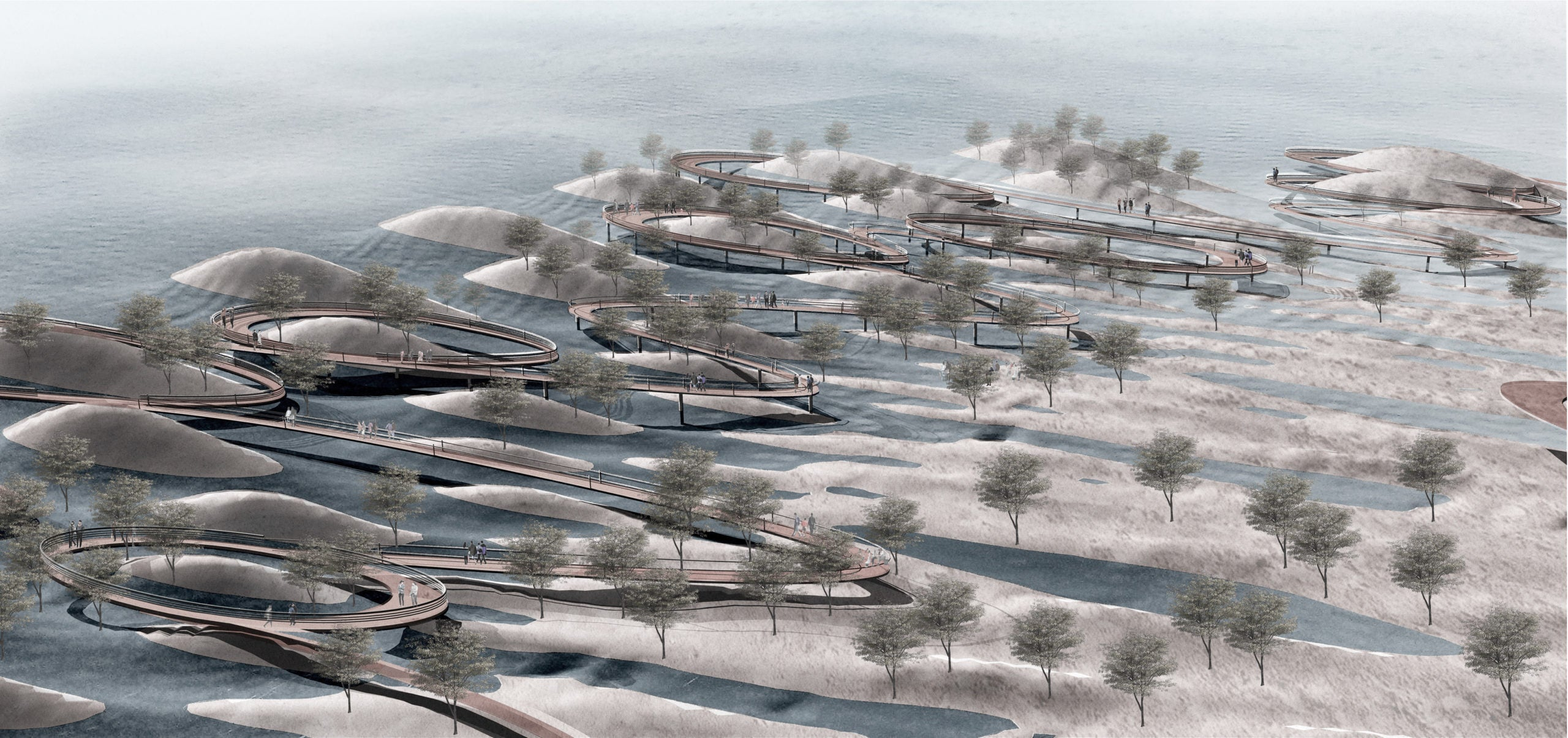 a mock up of what a Miami community could look like when adapted to climate change. Kind of looks like a bunch of octopus legs going into the ocean.