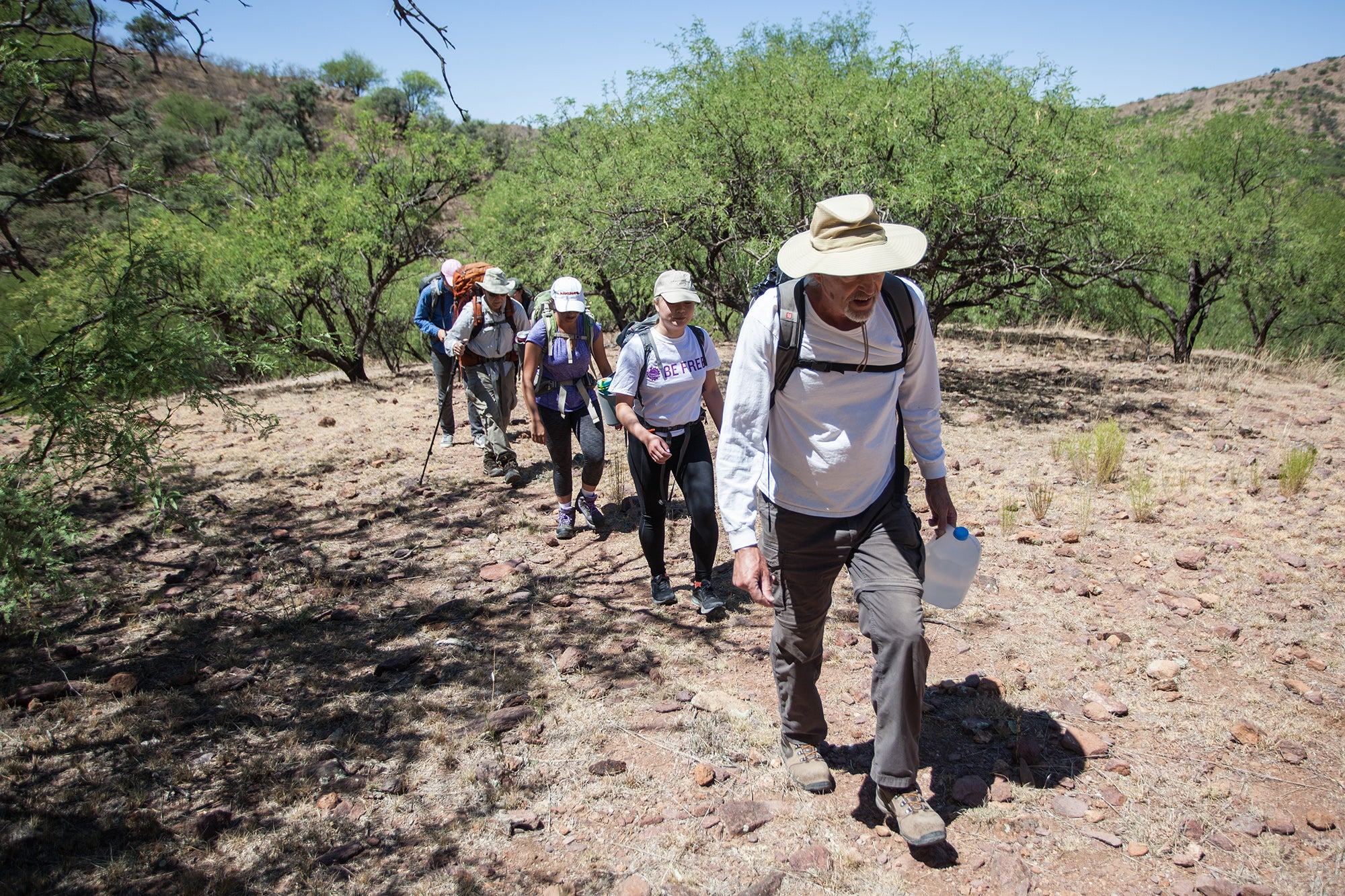 A group hiking in the desert